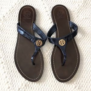 Tory Burch Blue Leather Thong Sandals